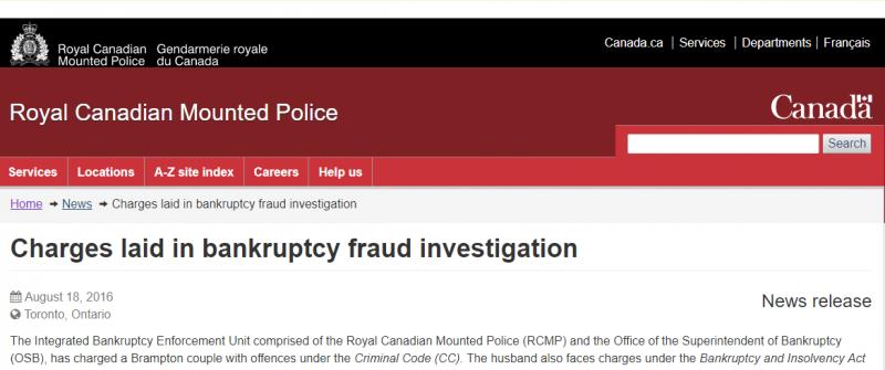 RCMP Investigate Bankruptcy Fraud Toronto Ontario Canada